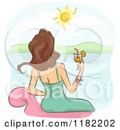 Cartoon Of A Rear View Of A Lady Sitting On A Chair With A Cocktail And Looking Out At The Ocean Royalty Free Vector Clipart