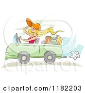 Cartoon Of A Blond Woman Holding Onto Her Sun Hat While Driving A Convertible Car Royalty Free Vector Clipart