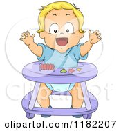 Happy Blond Toddler Boy In A Baby Walker