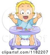 Happy Blond Toddler Boy In A Baby Walker