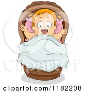 Cartoon Of A Happy Red Haired Toddler Girl In A Baby Basket Royalty Free Vector Clipart by BNP Design Studio