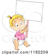 Cartoon Of A Happy Caucasian Toddler Girl In A Diaper Carrying A Sign Royalty Free Vector Clipart
