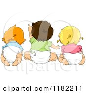 Cartoon Of A Rear View Of Toddler Children Looking And Pointing Royalty Free Vector Clipart