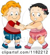 Cartoon Of Toddler Children Holding Hands And Dancing Royalty Free Vector Clipart