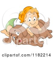 Happy Red Haired Toddler Boy Laying On A Dog