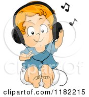 Cartoon Of A Happy Red Haired Toddler Boy Listening To Music Through Headphones Royalty Free Vector Clipart