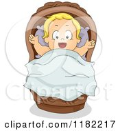 Cartoon Of A Happy Blond Baby In A Basket Royalty Free Vector Clipart by BNP Design Studio