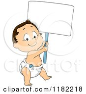 Cartoon Of A Happy Caucasian Toddler Boy In A Diaper Carrying A Sign Royalty Free Vector Clipart