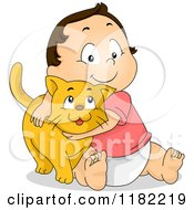 Cartoon Of A Happy Brunette Toddler Hugging A Ginger Cat Royalty Free Vector Clipart