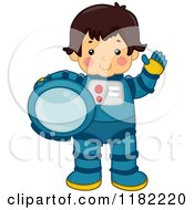 Cartoon Of A Waving Astronaut Boy Holding His Helmet Royalty Free Vector Clipart by BNP Design Studio