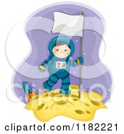 Cartoon Of A Happy Astronaut Boy With A Sign On The Moon Royalty Free Vector Clipart