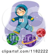 Cartoon Of A Happy Astronaut Boy Jumping Over Planets Royalty Free Vector Clipart
