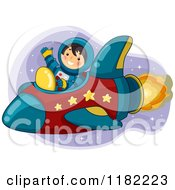 Cartoon Of A Waving Astronaut Boy Flying A Rocket Royalty Free Vector Clipart