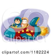 Cartoon Of Astronaut Kids Flying A Rocket Royalty Free Vector Clipart