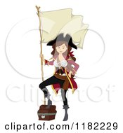 Cartoon Of A Sexy Pirate Pinup Woman With A Chest And Flag Royalty Free Vector Clipart