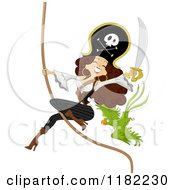 Cartoon Of A Sexy Pirate Pinup Woman And Parrot On A Swinging Rope Royalty Free Vector Clipart