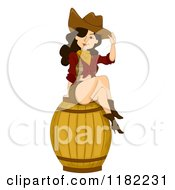 Cartoon Of A Sexy Pinup Cowgirl Sitting On A Barrel Royalty Free Vector Clipart by BNP Design Studio