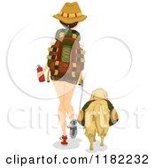 Cartoon Of A Rear View Of A Hiking Woman And Dog Royalty Free Vector Clipart