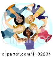 Cartoon Of A Huddled Group Of Diverse Women Looking Down Royalty Free Vector Clipart