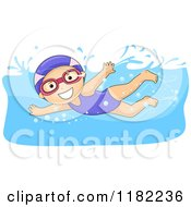Cartoon Of A Happy Girl Swimming With A Cap And Goggles Royalty Free Vector Clipart by BNP Design Studio