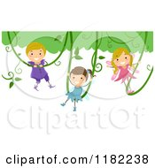 Cartoon Of Happy Fairy Children Swinging On Vines Royalty Free Vector Clipart