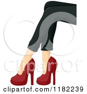 Cartoon Of A Womans Legs With Black Skinny Jeans And Red Heels Royalty Free Vector Clipart