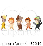 Cartoon Of A Line Of Children In Animal Costumes Royalty Free Vector Clipart