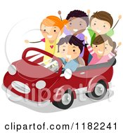 Cartoon Of Happy Diverse Children In A Convertible Car Royalty Free Vector Clipart