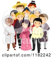 Cartoon Of A Group Of Multi Cultural People In Their National Costumes Royalty Free Vector Clipart