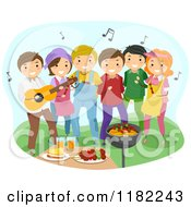 Cartoon Of A Happy Group Of People Dancing At A Barbeque Party Royalty Free Vector Clipart