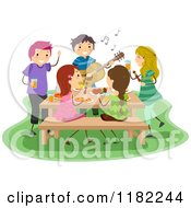 Cartoon Of People Eating Dancing And Playing Music At A Barbeque Party Royalty Free Vector Clipart