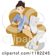 Cartoon Of A Woman Writing A Long List And Sitting In A Chair Royalty Free Vector Clipart by BNP Design Studio