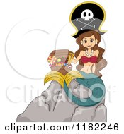 Cartoon Of A Brunette Pirate Mermaid Sitting On A Rock With A Candy Chest Royalty Free Vector Clipart by BNP Design Studio