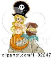 Cartoon Of A Blond Pirate Mermaid Sitting On A Rock With A Treasure Chest Royalty Free Vector Clipart