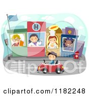 Cartoon Of A Boy Driving Through A Town With Occupational Kids Royalty Free Vector Clipart by BNP Design Studio