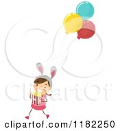 Cartoon Of A Theme Park Girl With Balloons Bunny Ears And Popcorn Royalty Free Vector Clipart by BNP Design Studio