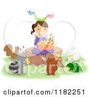 Cartoon Of Animals Around A Happy Girl Sitting On A Tree Stump With A Basket Of Flowers Royalty Free Vector Clipart by BNP Design Studio