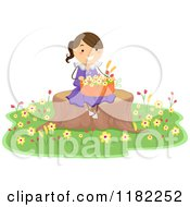 Cartoon Of A Happy Girl Sitting On A Tree Stump With A Basket Of Flowers Royalty Free Vector Clipart by BNP Design Studio
