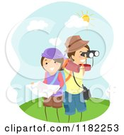 Cartoon Of A Happy Adventurer Couple With A Map And Binoculars Royalty Free Vector Clipart
