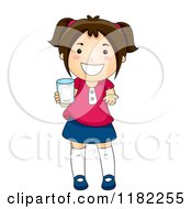 Cartoon Of A Happy Brunette Girl Holding A Cup And A Vitamin Royalty Free Vector Clipart by BNP Design Studio