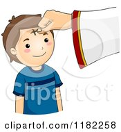 Cartoon Of A Cross Being Marked On A Boys Forehead On Ash Wednesday Royalty Free Vector Clipart