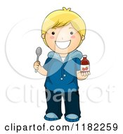 Cartoon Of A Happy Blond Boy Holding Strawberry Vitamin Syrup And A Spoon Royalty Free Vector Clipart by BNP Design Studio