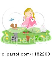 Cartoon Of Animals Around A Dancing Girl Royalty Free Vector Clipart