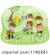 Cartoon Of Three Scout Boys Preparing Camp Royalty Free Vector Clipart