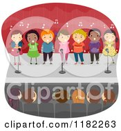 Cartoon Of An Audience Watching Children Singing On Stage Royalty Free Vector Clipart