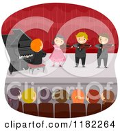 Cartoon Of An Audience Watching Children Play Instruments On Stage Royalty Free Vector Clipart