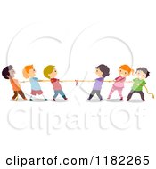 Cartoon Of Diverse Children Playing Tug Of War Royalty Free Vector Clipart