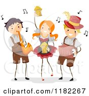 Cartoon Of Happy Oktoberfest People With Instruments And Beer Royalty Free Vector Clipart