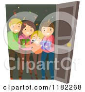 Cartoon Of A Happy Family At A Door With Surprise Birthday Party Gifts And A Camera Royalty Free Vector Clipart