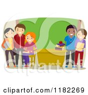 Cartoon Of Diverse Teachers In A Class Room Royalty Free Vector Clipart